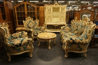 style 5 piece salon set in painted wood, Italy mid 20th C.