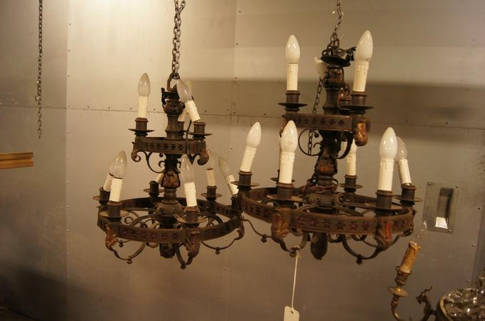 Pair of iron chandeliers, mid 20th C