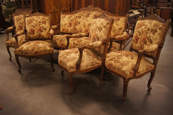 Louis XV style walnut 5 piece sofa set, around 1900