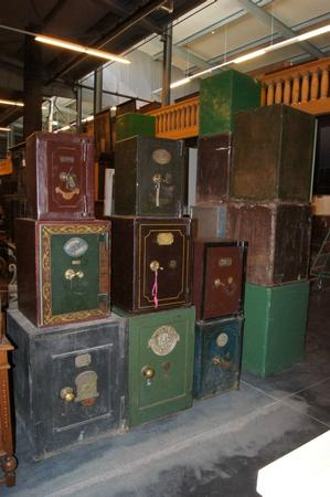 19th C iron painted safes