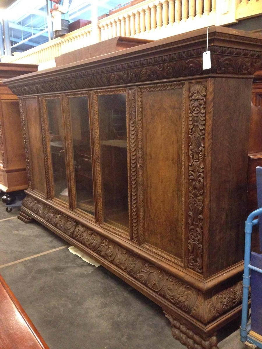 Huge walnut bookcase, early 20th C