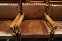 Ipswich style set of chairs in wood and leather, England mid 20th Century