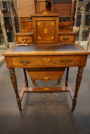 Small English rosewood desk with marquetry, 19th C