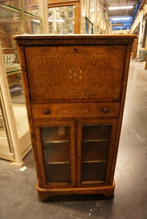 English walnut music file cabinet, mid 19th C.