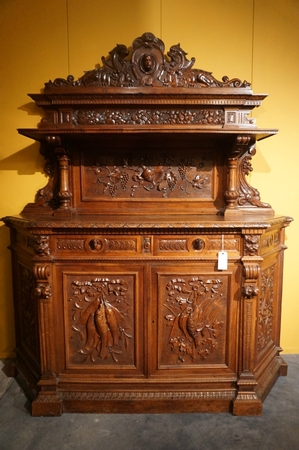 Carved walnut server, 19th Century