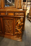 Baroque style diningroom set in walnut, Italy 2nd half 20th Century