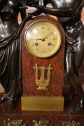 Bronze marble Empire clock Amor and Psyche Early 19th Century