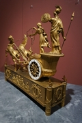 Empire Chariot clock in gilded bronze, France around 1800
