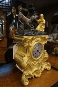 French bronze gilded clock 19th Century