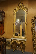 Gilded mirror top console table