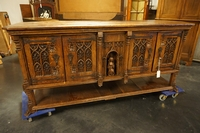 Gothic style Sideboard in oak, France early 20th C.