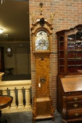 Grandfather clock by A. van Aken in walnut, Holland 18th century