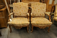 Louis XV style Pair of armchairs in walnut around 1900