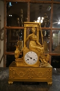 Louis XVI style clock in gilded bronze, France 18th century