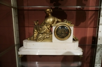 Louis XVI style Clock in bronze and marble, France 19th century