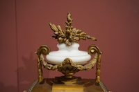 Louis XVI style Clock set in gilded bronze, France 2nd half 20th C.