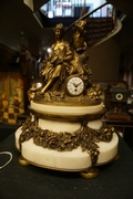 Louis XVI style Clock signed by Planchon in bronze and marble, France 19th century