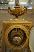 Louis XVI style bronze marble clock set 19th Century