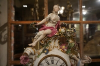 Meissen style clock in marble, Germany 18th century