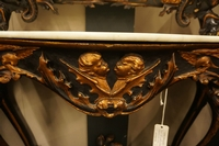 Mirror top console table in wood and plaster, Italy 19th Century