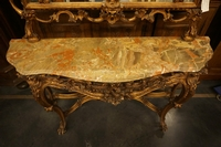 Mirror top console table in wood, Italy first half 20th century