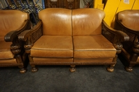 Sofa set in walnut & leather, Holland early 20th C.