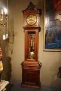 Walnut carved 3 weight floorclock